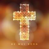 Christmas background with illuminated ornamental cross, christian concept,. Illustration background Stock Photo