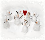 Christmas background - illustration. Christmas background with snowmen Stock Photos