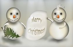 Christmas background - illustration. Christmas background with snowmen Royalty Free Stock Photos