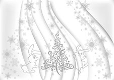 Christmas background. Illustration of abstract Christmas background with tree and hares Royalty Free Stock Photography