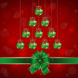 Christmas background. Illustration of Christmas background with balls and bows in green and red colors Stock Photos