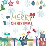 Christmas background,  illustration. Christmas card with New Year`s attributes, christmas background,  illustration Royalty Free Stock Image
