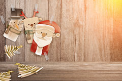 Christmas background illustration of funny santa claus and red n Stock Photography
