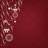 Christmas background illustration of hanging ornaments with a copy space. Stock Photography