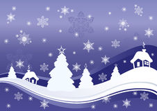 Christmas background. Illustration of Christmas background with houses and trees Stock Images