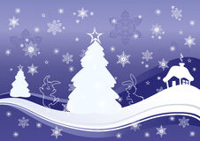 Christmas background. Illustration of Christmas background with houses and trees Stock Photo