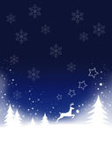 Christmas background. Illustration with snowflakes, snow, christmas trees, reindeer Stock Images