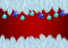Christmas background. Illustration of white Christmas tree branches with balls on red background Royalty Free Stock Photography