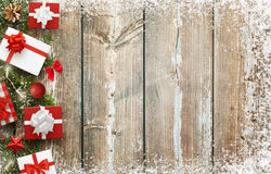 Christmas background image with gifts and christmas tree decoration with free space for text. Top view Stock Images