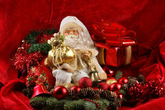 A Christmas background image with a toy Santa Royalty Free Stock Photos