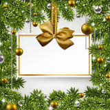 Christmas background with invitation card. Royalty Free Stock Photo