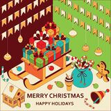 Christmas background with isometric cute toys. Sled with gifts and gingerbread house