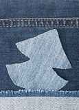Christmas background. Jeans texture with shape Christmas tree Stock Photo