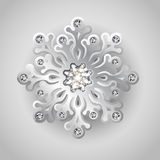 Winter Background with Jewelry Snowflake Stock Photo
