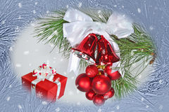 Christmas background with jingle bells Stock Photo