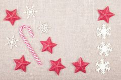 Christmas background on jute fabric, space for text Stock Image