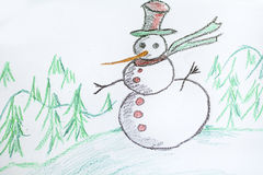 Christmas background with kid's drawing - painted snowman. Christmas background with  drawings on a white background Stock Photo