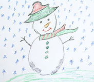 Christmas background with kid's drawing - painted snowman. Christmas background with  drawings on a white background Royalty Free Stock Photos