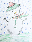 Christmas background with kid's drawing - painted snowman. Christmas background with  drawings on a white background Royalty Free Stock Images