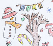 Christmas background with kid's drawing style elements. Christmas background with  drawings on a white background Stock Image