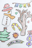 Christmas background with kid's drawing style elements. Christmas background with  drawings on a white background Royalty Free Stock Photography