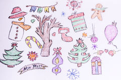 Christmas background with kid's drawing style elements. Christmas background with  drawings on a white background Royalty Free Stock Image