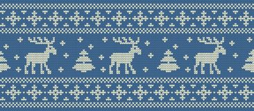 Christmas background. Knitted pattern with deers and fir trees. Seamless border. Christmas background. Knitted pattern with deers and fir trees. Ornament Stock Photos