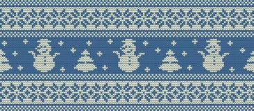 Christmas background. Knitted pattern with snowmen and fir trees. Seamless border. Christmas background. Knitted pattern with snowmen and fir trees. Ornament Stock Image