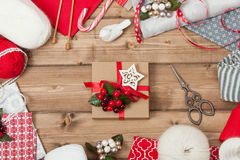 Christmas Background. Knitting And Sewing Kit Royalty Free Stock Image