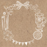 Christmas  background on kraft paper. Can be greeting card, invi Stock Photos