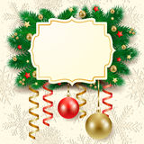 Christmas background with label. Fir branches and baubles. Illustration Royalty Free Stock Image
