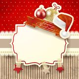 Christmas background with label, in red Royalty Free Stock Photo