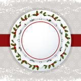 Christmas background label and ribbon Stock Photo