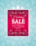 Christmas background and label with sale offer, ve Stock Photo