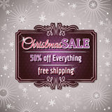 Christmas background and  label with sale offer Royalty Free Stock Photos