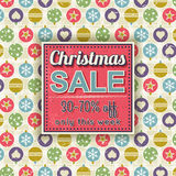 Christmas background and  label with sale offer Stock Photos