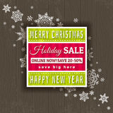Christmas background and  label with sale offer Stock Images