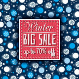 Christmas background and  label with sale offer, vector Stock Photos