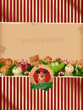 Christmas background with label and toys Stock Image