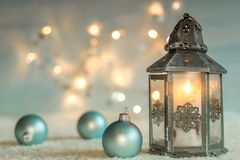 Christmas background. With lantern and balls Royalty Free Stock Image