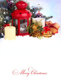 Christmas background with lantern and candles Royalty Free Stock Image