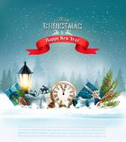 Christmas background with a lantern and a colorful gift boxes stock illustration