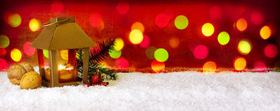 Christmas background with lantern and colorful lights. Stock Photography