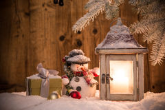 Christmas background with lantern. And falling snow Royalty Free Stock Image