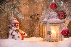Christmas background with lantern Stock Photos
