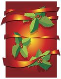 Christmas background with leaves and ribbons Royalty Free Stock Images