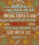 Christmas background with lettering Bible She shall bring forth a Son and shall call his name Emmanuel Stock Photography