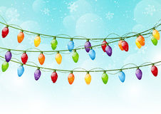 Christmas background with light bulbs. Christmas blue background with light bulbs Royalty Free Stock Photos