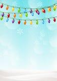 Christmas background with light bulbs. Christmas blue background with light bulbs Stock Photos