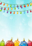 Christmas background with light bulbs. Christmas blue background with light bulbs Royalty Free Stock Images
